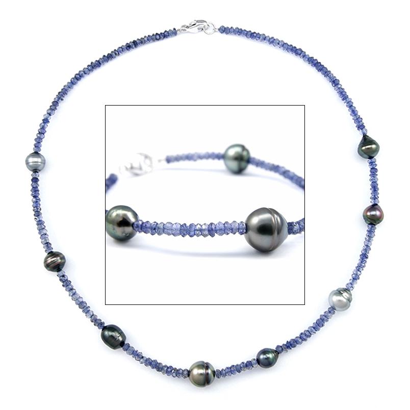 Topaz Tahitian Pearl Bracelet / Necklace