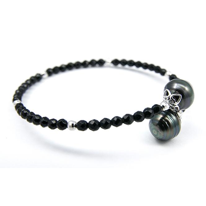 Onyx Tahitian Pearl Silver Bracelet