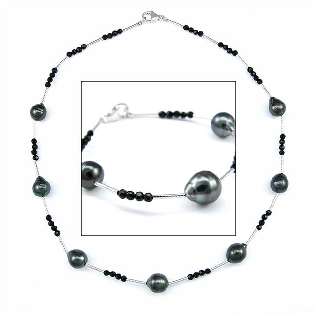 Onyx Tahitian Pearl Bracelet / Necklace