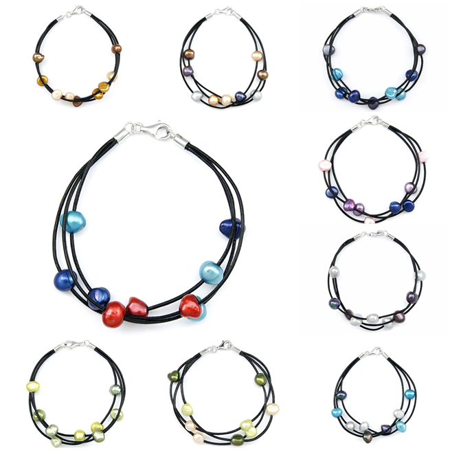 Multi-Color Freshwater Pearl Leather Bracelet
