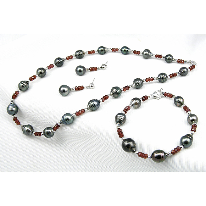 Onyx Freshwater Pearl Ring / Earring / Necklace