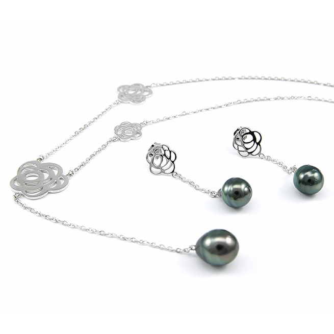 Rose Tahitian Pearl Earring / Necklace
