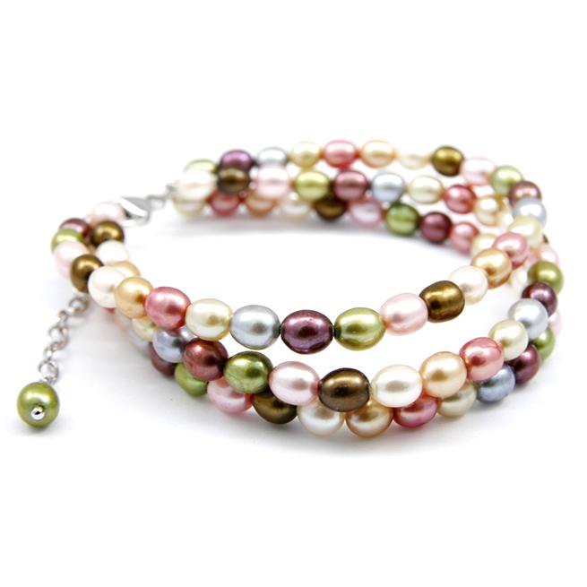 Multi-Color Freshwater Pearl 3-string Bracelet