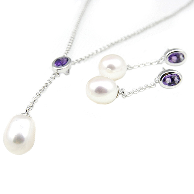 Amethyst Freshater Pearl Necklace