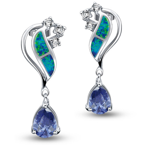 Synthetic Opal Earrings
